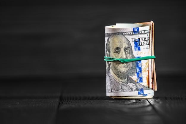 Dinheiro, isolado, ligado, madeira