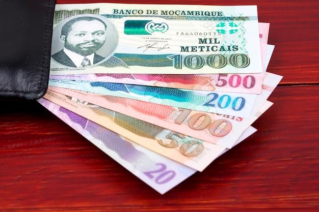 Dinheiro moçambicano na carteira preta