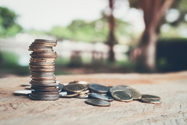 Dinheiro, moedas crescendo conceito e o sucesso de metas financeiras.