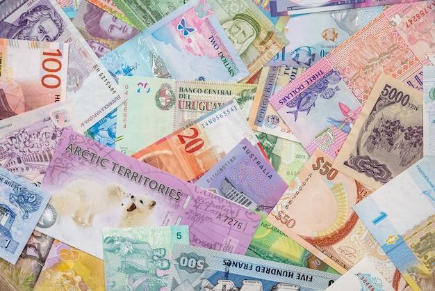 Dinheiro mundial como pano de fundo