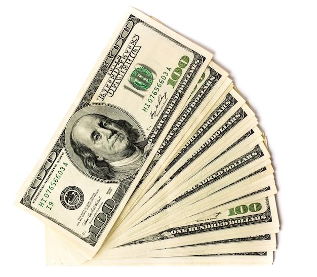 Dinheiro, notas de cem dólares em branco. vista do topo.
