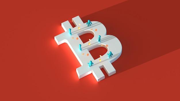Dinheiro ou bitcoin - ilustração 3d
