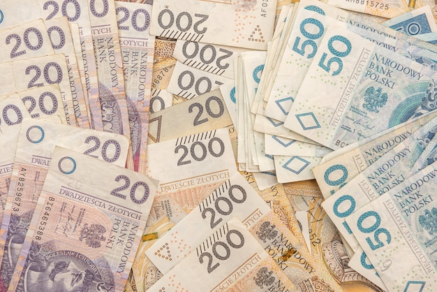 Dinheiro polonês zloty, 20 50 200 pln. conceito financeiro