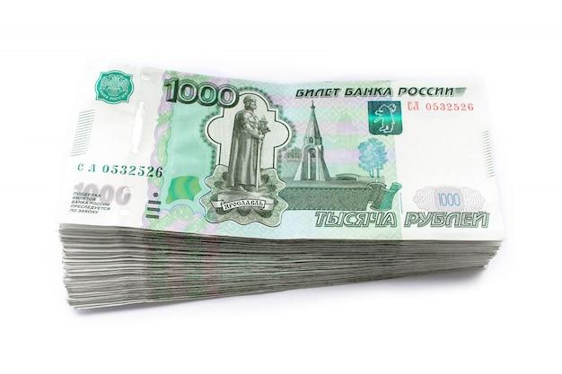 Dinheiro russo rublos, mil, fundo branco