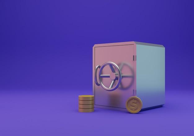 Dinheiro seguro e moeda isolada, renderização em 3d