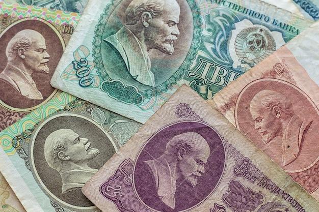 Dinheiro soviético vintage. fundo