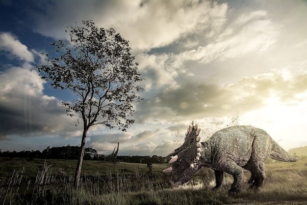 Dinossauro regaliceratops vivendo no jurássico superior