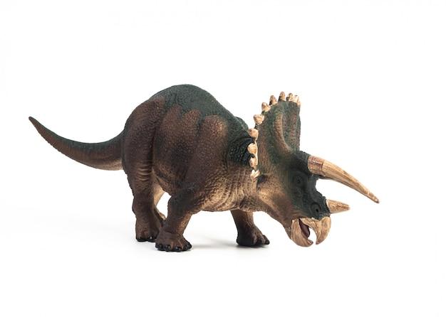 Dinossauro triceratops em fundo branco