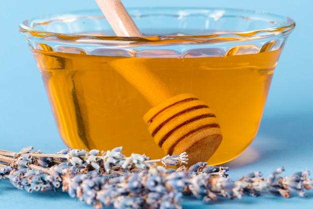Dipper vista frontal na tigela de mel