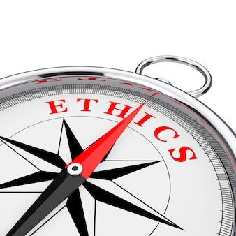 Direção ao close up da bússola conceitual de ética em um fundo branco. renderização 3d