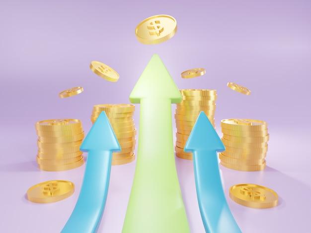 Direção da seta do negócio para o sucesso. gráfico de aumento do lucro. sucesso financeiro e conceito de crescimento. ilustração 3d.