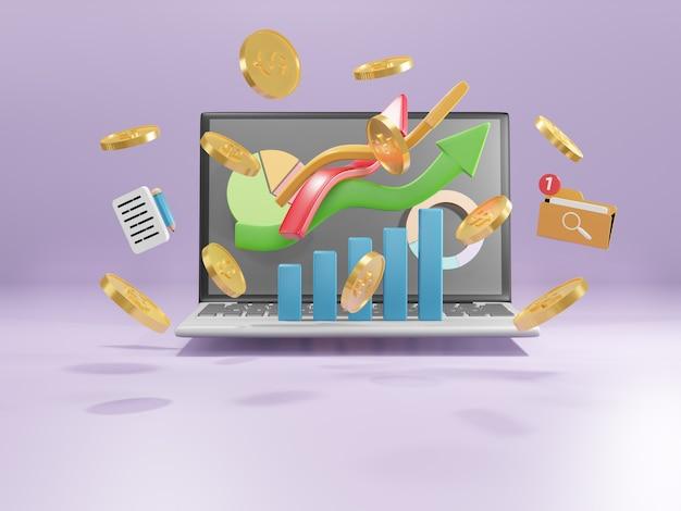 Direção da seta do negócio para o sucesso. o gráfico de análise de dados aumenta o lucro. sucesso financeiro e conceito de crescimento. ilustração 3d.