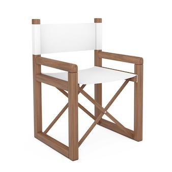 Diretor ou cadeira de jardim dobrável de madeira moderna em um fundo branco. renderização 3d