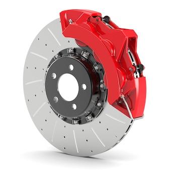 Disco de freio de aço de automóvel com pinças vermelhas e pastilhas isoladas no fundo branco. conceito de tuning e corrida de rua.