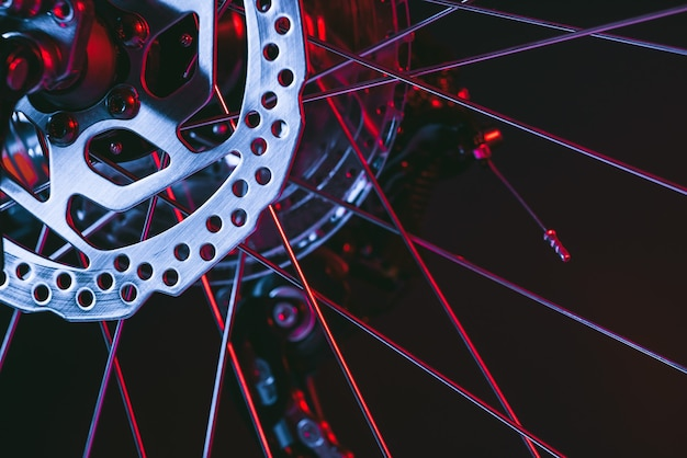 Disco de freio de bicicleta. roda de bicicleta.