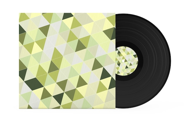 Disco de registro de vinil velho em caixa de papel multicolorido abstrato em um fundo branco. renderização 3d