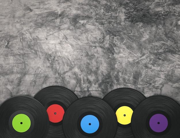 Disco de vinil colorido com renderização em 3d