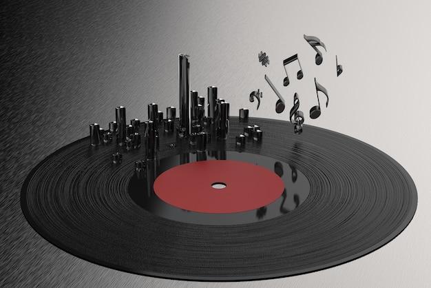 Disco de vinil com renderização 3d com notas musicais