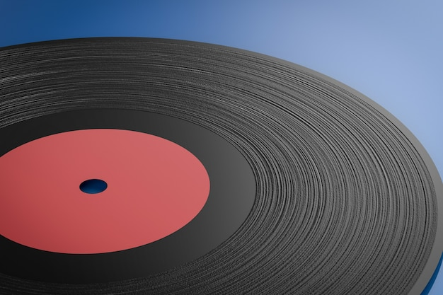 Disco de vinil com renderização 3d em fundo azul