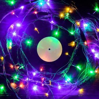 Disco de vinil de gramofone em estilo natalino