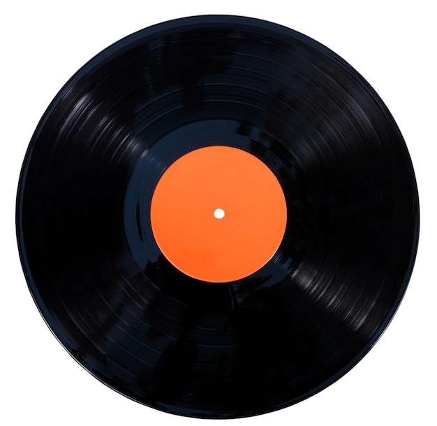 Disco de vinil de gramofone isolado na superfície branca com traçado de recorte