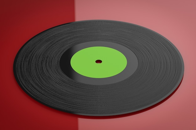 Disco de vinil de renderização 3d em fundo vermelho