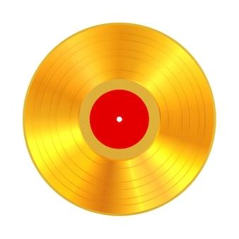 Disco de vinil dourado com etiqueta em branco vermelha em um fundo branco. renderização 3d