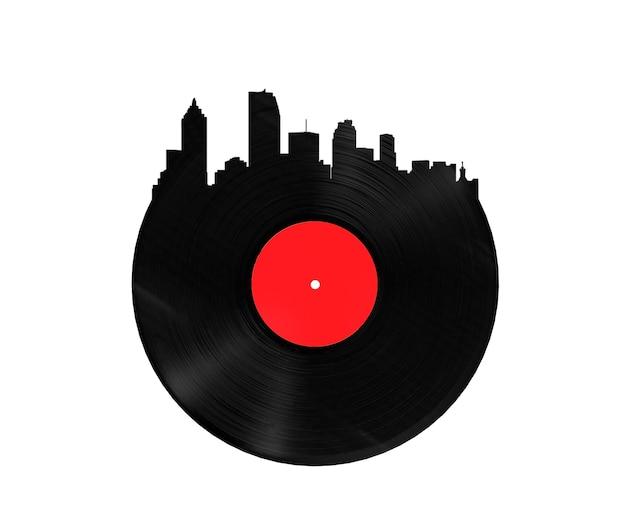 Disco de vinil no formato de uma renderização 3d urbana em um fundo branco