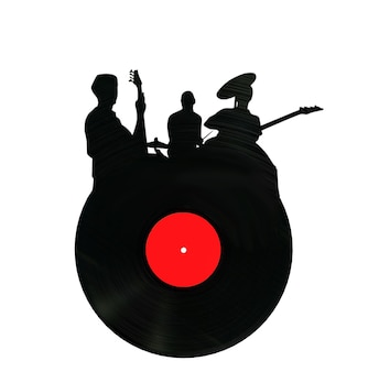 Disco de vinil no formato rock group 3d render renderização 3d em um fundo branco