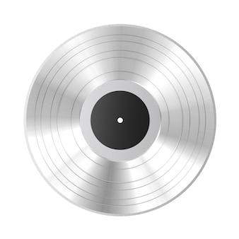 Disco de vinil prateado com etiqueta em branco preta sobre fundo branco. renderização 3d