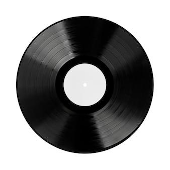 Disco de vinil preto com etiqueta em branco sobre fundo branco. renderização 3d