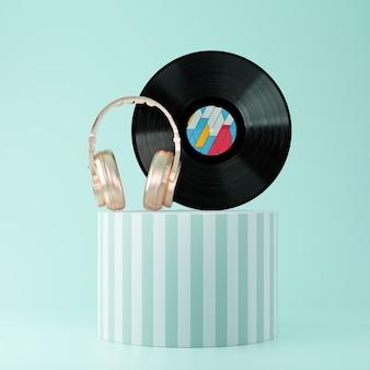 Disco de vinil preto com fones de ouvido dourados sobre o pedestal de apresentação despojado sobre um fundo azul. renderização 3d