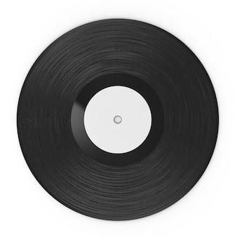 Disco de vinil preto com renderização 3d isolado no branco