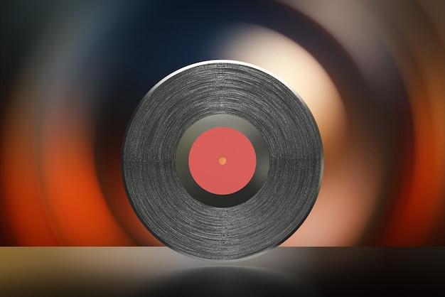 Disco de vinil preto com renderização 3d