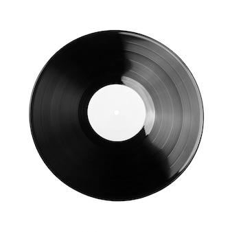 Disco de vinil preto isolado no branco