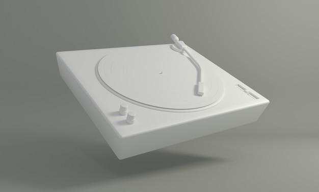 Disco de vinil vintage branco em toca-discos de dj em fundo cinza tecnologia de som retrô para tocar música
