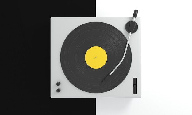Disco de vinil vintage com etiqueta amarela na plataforma giratória de dj em fundo preto e branco música retrô
