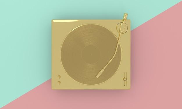 Disco de vinil vintage dourado em toca-discos de dj em fundo pastel tecnologia de som retrô música mínima