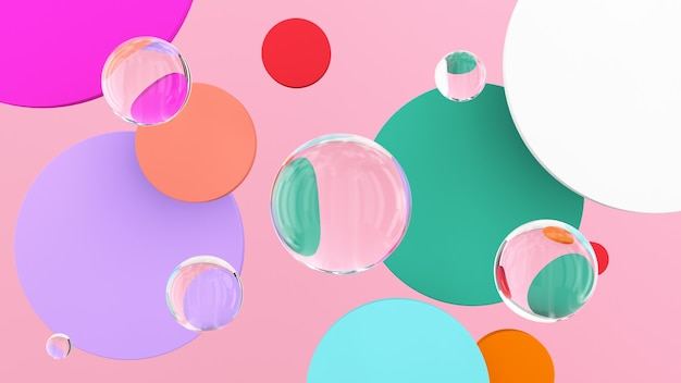 Discos coloridos e bolas de vidro ilustração abstrata