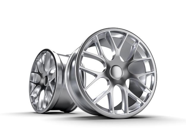 Discos de aço para uma ilustração da rendição do carro 3d.