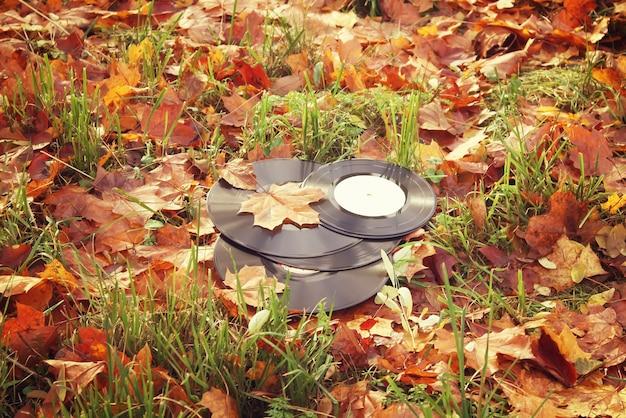 Discos de vinil vintage em folhas de outono outono fundo.