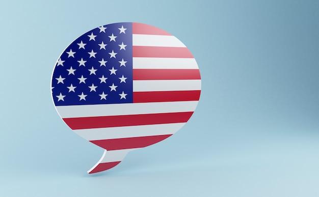 Discurso de bolha 3d com bandeiras dos estados unidos