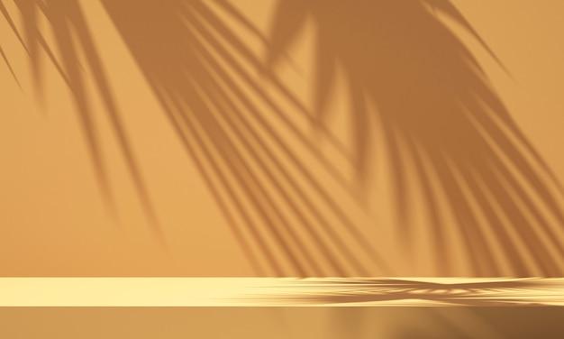 Display 3d do pódio do produto com fundo laranja e sombra de árvore, fundo da maquete do produto de verão, ilustração 3d render