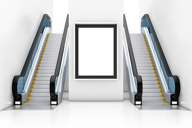 Display de caixa de luz, outdoor, cartaz como modelo para seu projeto entre escadas rolantes de luxo moderno no interior do edifício shopping center, aeroporto ou metro closeup extrema. renderização 3d
