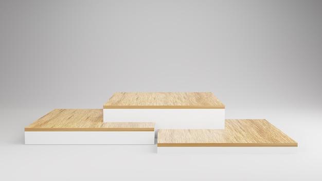 Display de madeira pódio em composição abstrata de branco