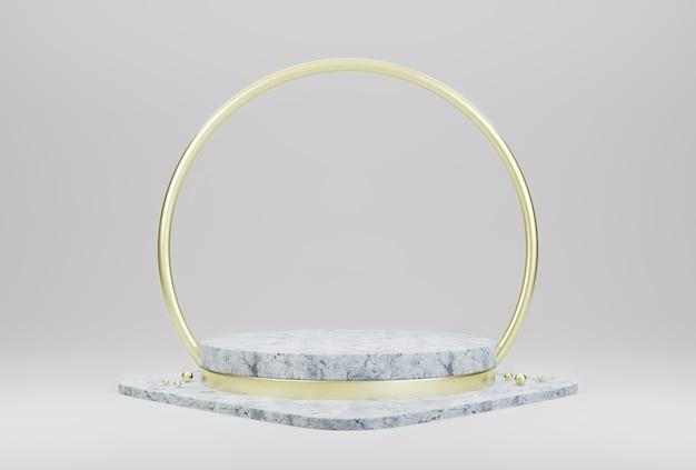 Display de pódio de pedra de mármore com círculos dourados