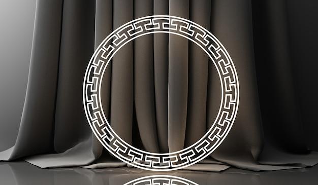 Display de pódio dourado em fundo abstrato preto com forma geométrica e apresentação minimal de produto de cortina na china