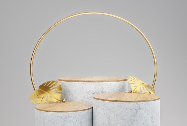 Display de pódio geométrico de madeira de maquete com folhas de monstera douradas para apresentação do produto.
