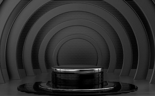Display de pódio metálico escuro com renderização em 3d para apresentação de produtos com fundo abstrato padrão