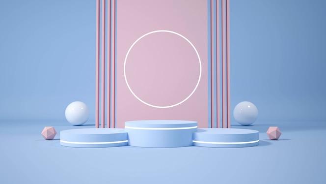 Display de pódio minimalista moderno. ilustração 3d
